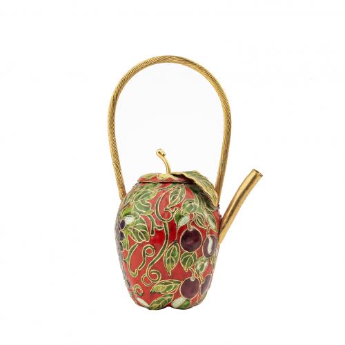 fruit decoration enamel vintage Chinese teapot