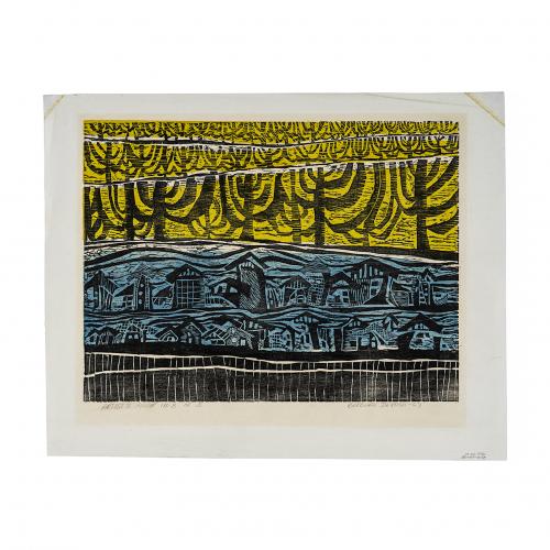 vintage art print linocut