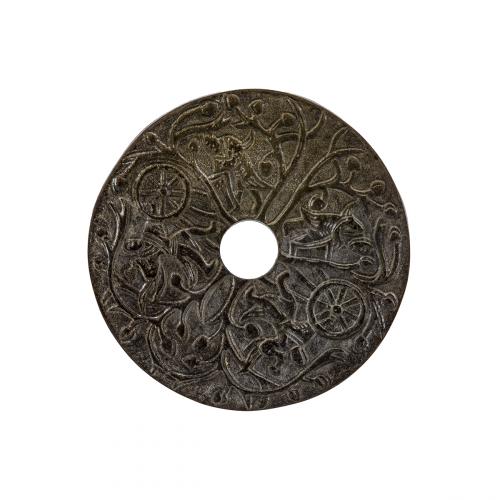 Chinese pendant archaic hardstone Bi disc