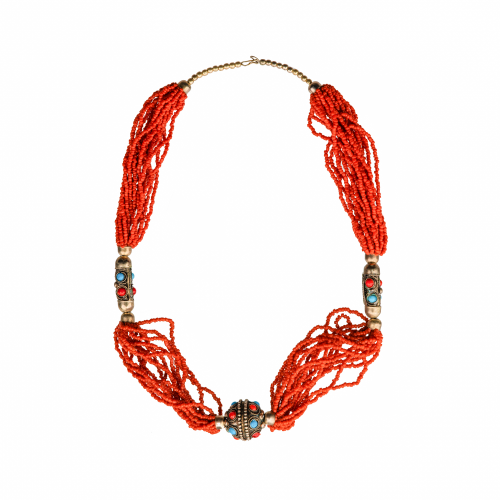 Vintage African Coral Beaded Necklace