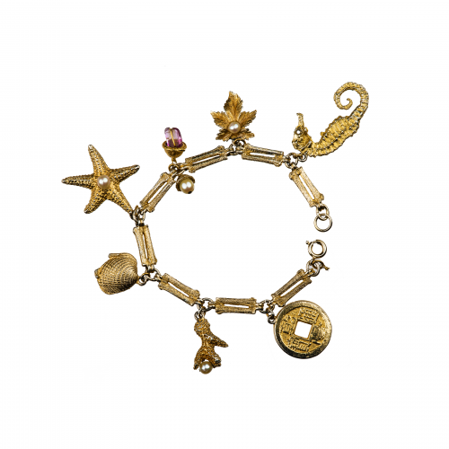 Vintage Costume Jewelry Charm Bracelet