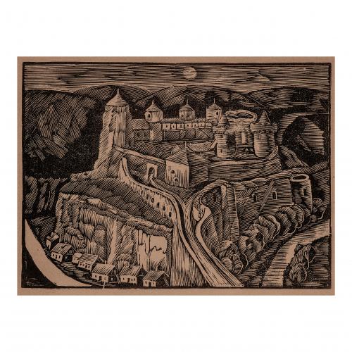 Castle Landscape Woodblock Print