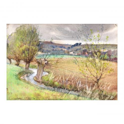 British Watercolor Painting Landscape