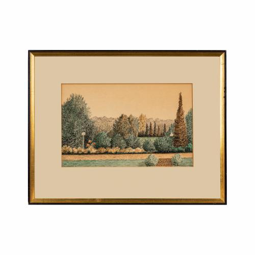 Garden Landscape Watercolor Painting