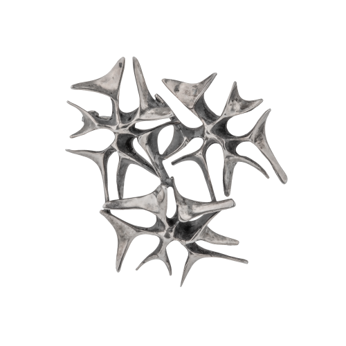 Silver abstract brooch