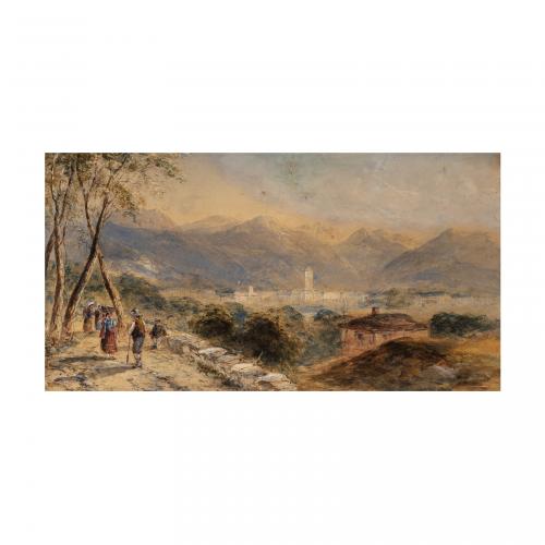 Italian Landscape Watercolor Painting