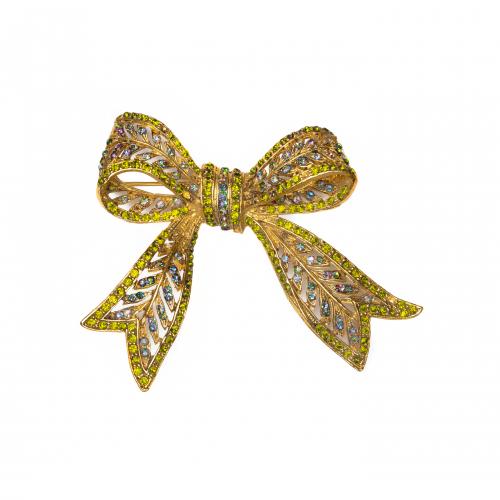 rhinestone bow brooch