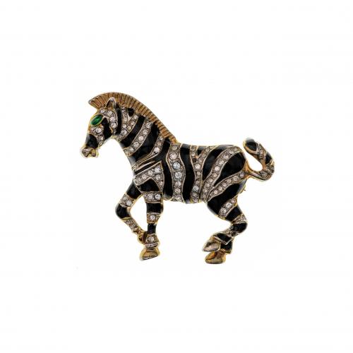 Rhinestone Zebra Brooch