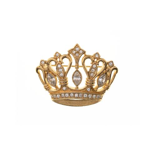 Costume Jewelry Crown Brooch