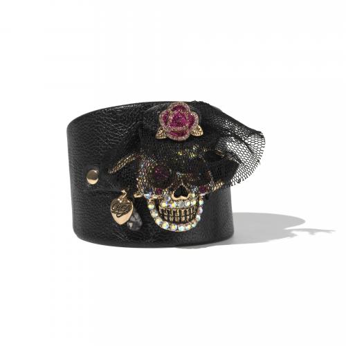 Betsey Johnson Leather Skull Cuff