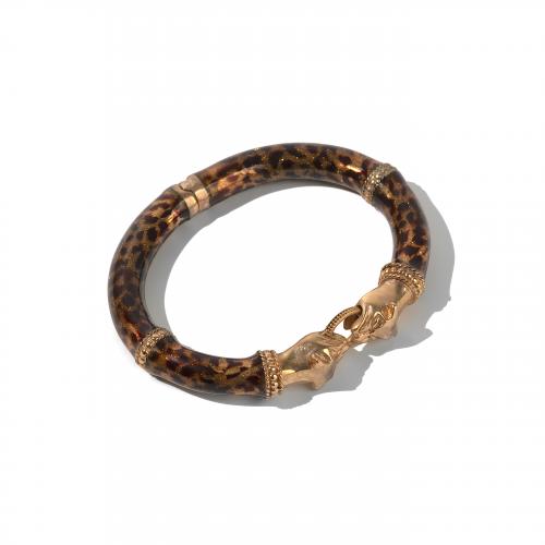 bronze leopard hinge bangle