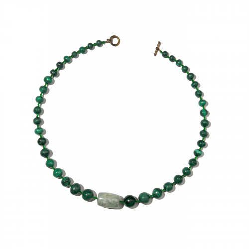 Chalcedony and Malachite Beaded Necklace