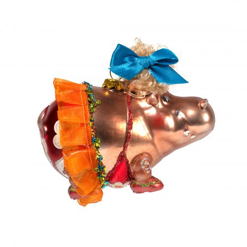 Hippo Ballerina Christmas Ornament