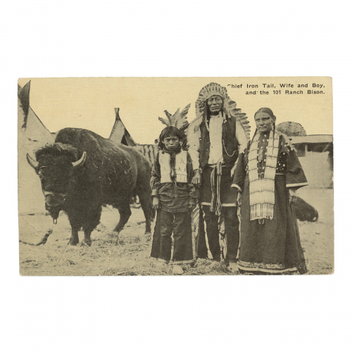 Chief Iron Tail 101 Bison Ranch Postcard