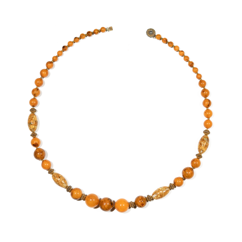 Gold Foil Lucite Beaded Necklace