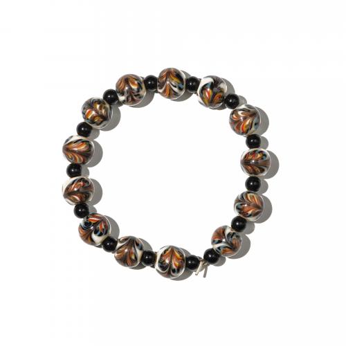 Venetian Feathered Glass Beaded Bracelet