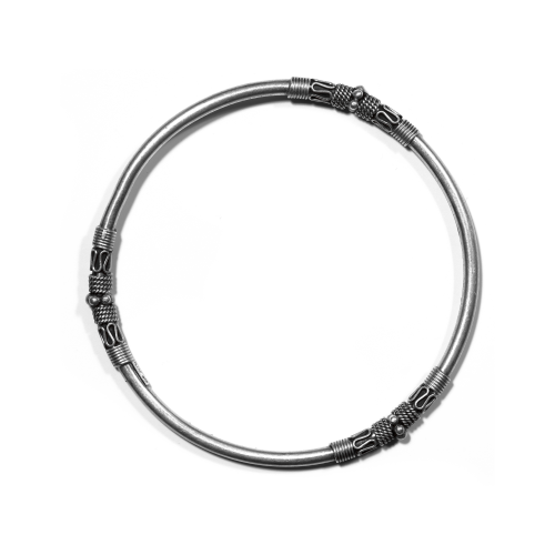 African Style Silver Bangle