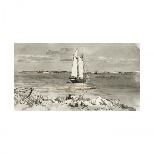American shore scene watercolor painting
