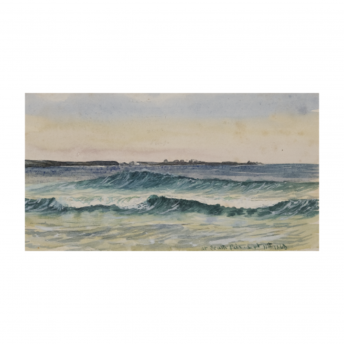 Coastal Scene Watercolor Painting