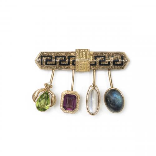 Gemstone Stick Pin Brooch