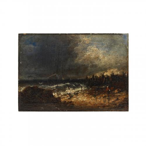 David Cox Oil Painting Beach Scene