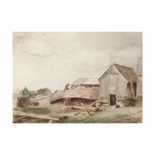 Farmyard Watercolor Painting