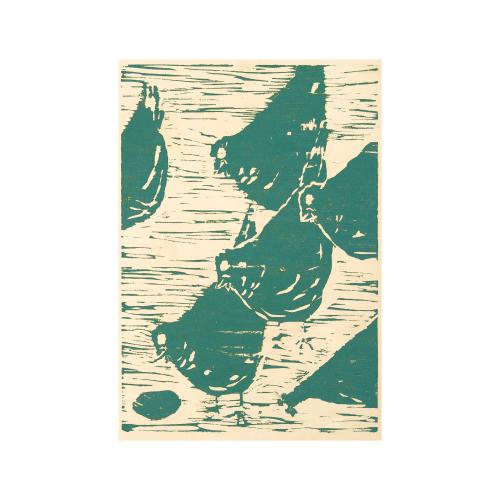 Vintage Bird Linocut Print