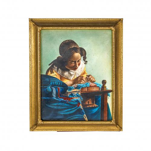Antique Enamel Plaque Portrait