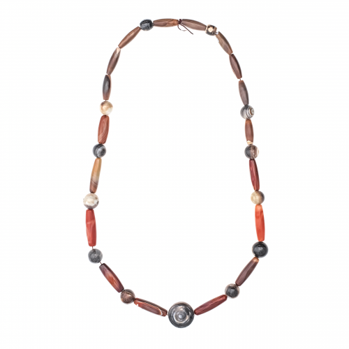Long Agate Bead Necklace
