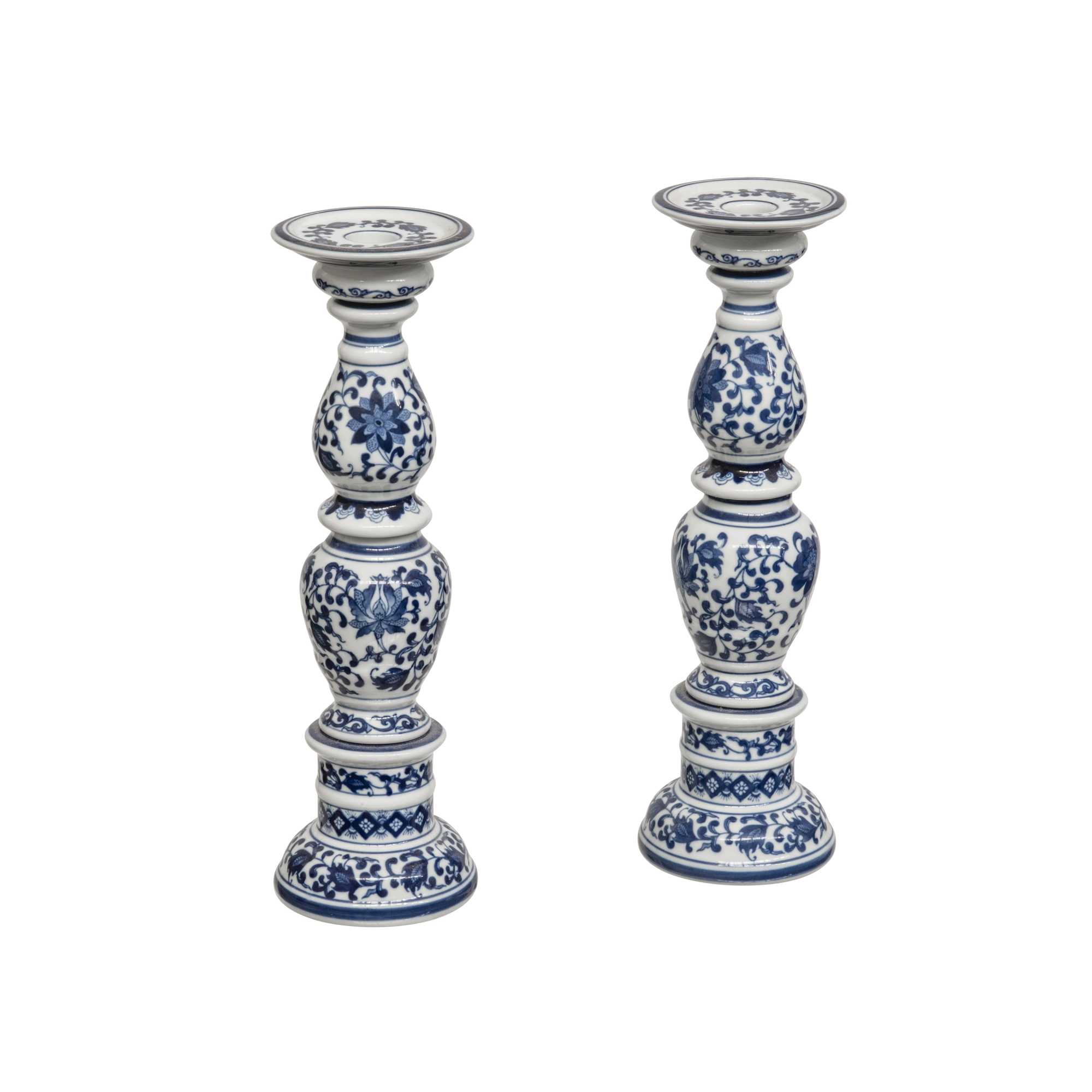 Blue and White Candle Holders