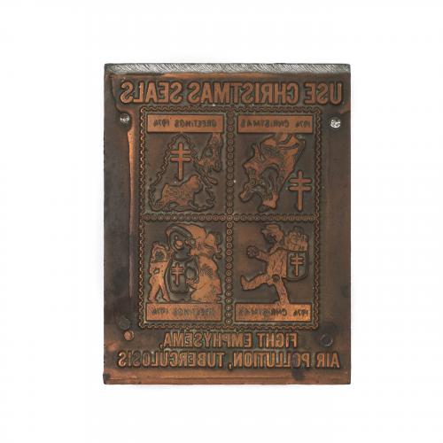 1974 Christmas Seal Postage Stamp Die Copper & Wood Printing Plate
