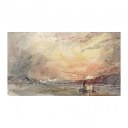 American impressionist seascape watercolor painting
