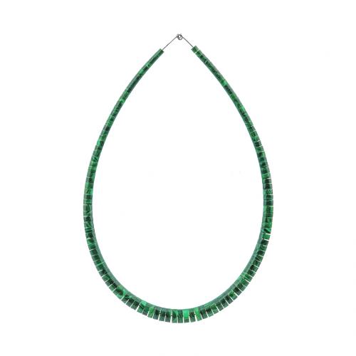 Graduated Malachite Cylinder Disk Bead Necklace