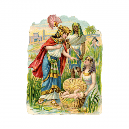 Baby Moses Antique Judaica Holiday Card