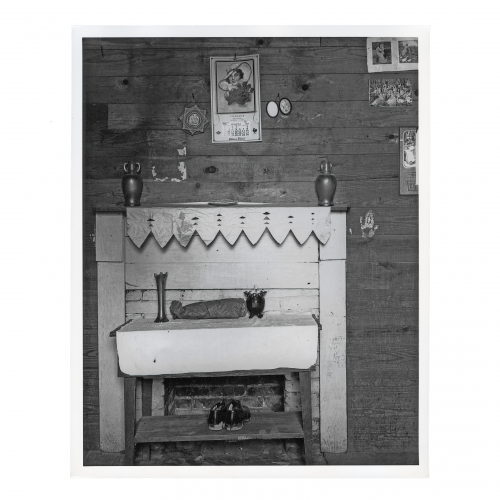 Walker Evants Table, Fireplace, and Pictures on Wall of Floyd Burroughs's Bedroom, Hale County, Alabama, 1936