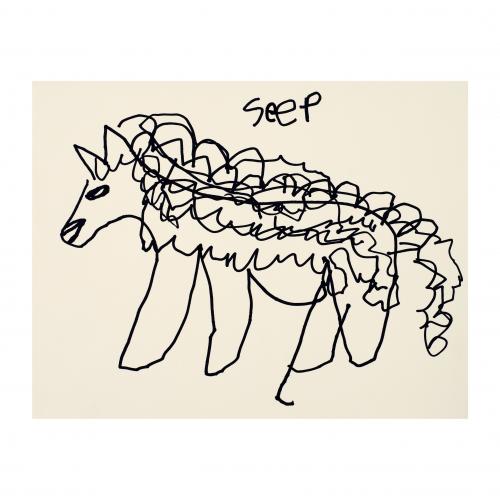Outsider Folk Art Drawing Seep