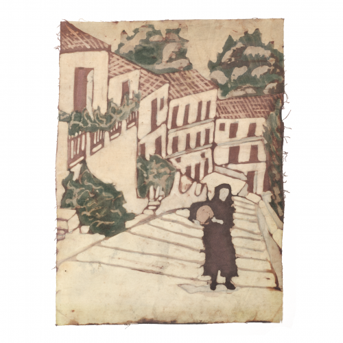 Vintage Spanish Fabric Painting