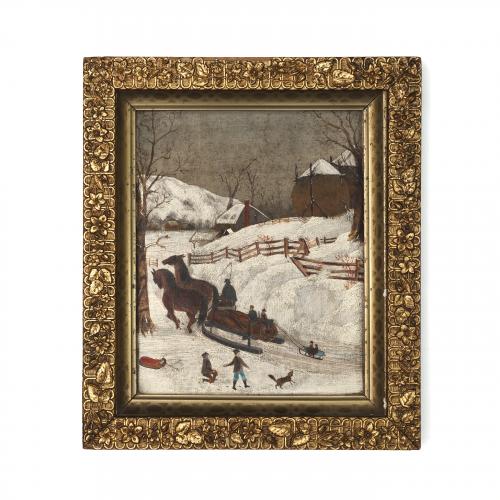 American Folk Art Winter Painting
