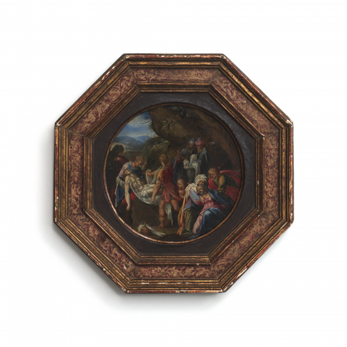 The Deposition of Christ, oil on copper panel painting dating to the 16th-17th century circa 1550-1600