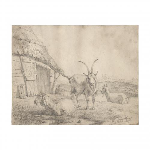 Pieter Frans De Noter Farm Landscape Drawing