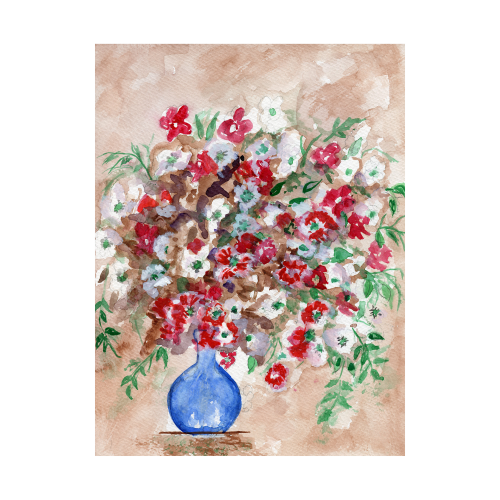 Still Life Flower Bouquet Watercolor Painting