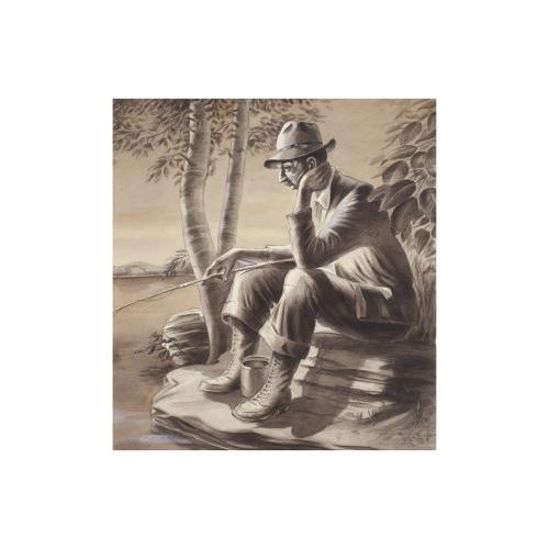 Fisherman Watercolor Painting