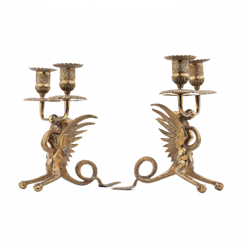 Vintage Brass Dragon Candle Holders