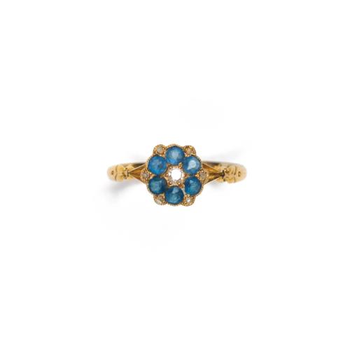 English 18k Gold Diamond and Sapphire Ring