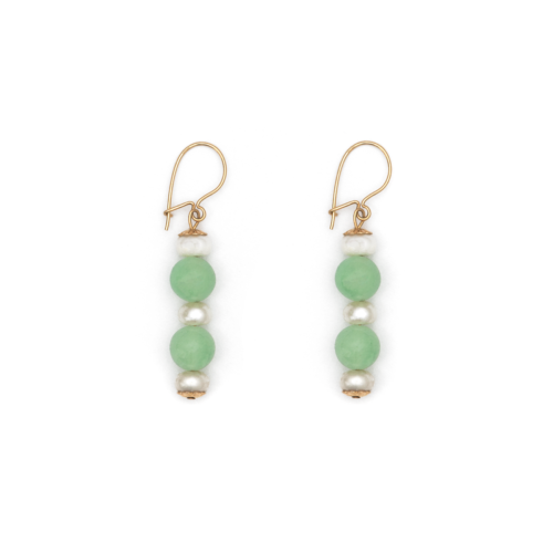 Chrysoprase and Cultured Pearl Earrings