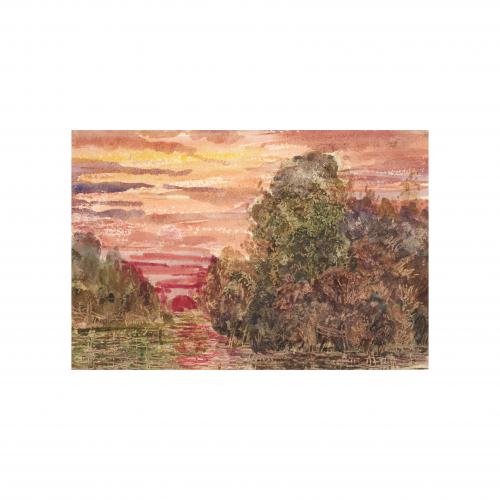 Sunset Landscape Watercolor Painting