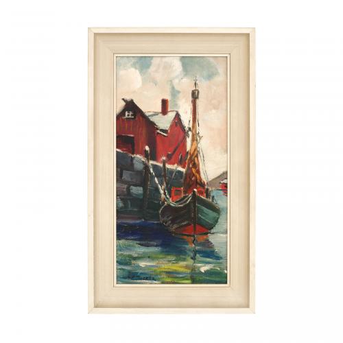 Vintage Dock Scene Landscape Painting