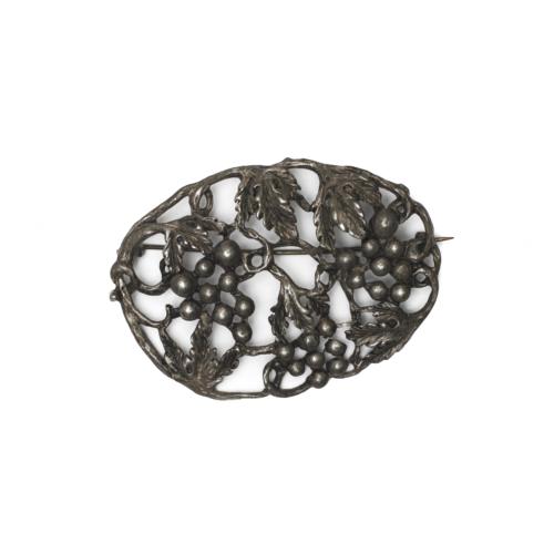 Victorian Pewter Grape Leaf Brooch