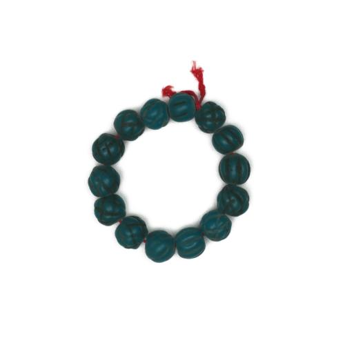 Teal Blue Antique Melon Beaded Bracelet