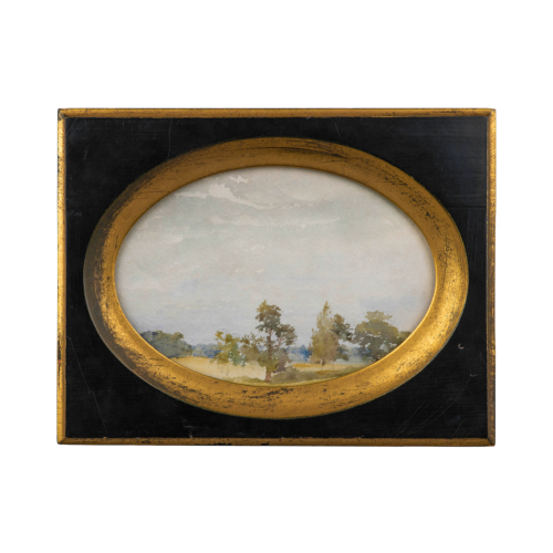 Edwardian Oval Watercolor Painting